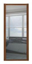 Shaker Sliding Wardrobe Door- WALNUT FRAME- MIRROR SINGLE PANEL